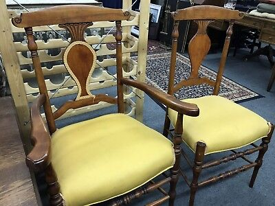 Antique Pair Carved Cherry Chairs His & Hers Early American Country Style