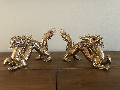 GOLD LOT OF 2 Asian Dragon Figurine Statues