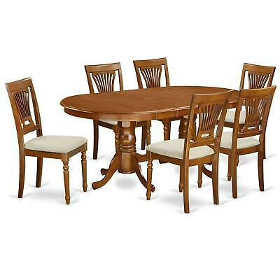 PLAI7-SBR  7 PC Dining  set for 6-Dining Table with 6 Dining Brown 7-Piece Sets