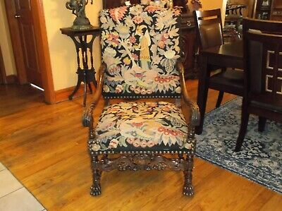 French walnut Throne chair needlepoint tapestry Late 19th century Louis XIV