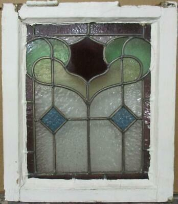 "EDWARDIAN ENGLISH LEADED STAINED GLASS WINDOW Pretty Bordered Design 14.5"" x 17"""