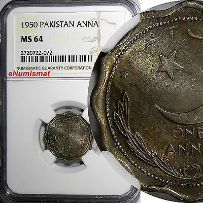 PAKISTAN Copper-Nickel 1950 1 Anna NGC MS64 LIGHT TONED TOP GRADED BY NGC KM# 8