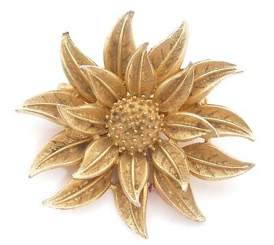 Vintage Tiered Gold Plated Detailed Floral Flower Brooch Pin Old Jewelry