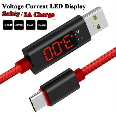Voltage Current LED Display Type-C Lightning Micro USB Sync Fast Charging Cable