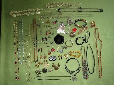 62 Pc Lot Costume Jewelry~Some Vintage~Brooches Slides 17 Pr Earrings etc