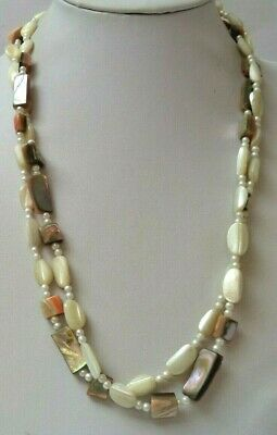 "Stunning Vintage Estate Mop Mother Of Pearl Bead 46"" Necklace!!! 2408A"