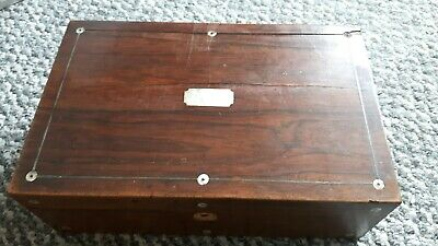 Vintage/Antique Wooden Box with Mother of Pearl Inlay in need of restauration