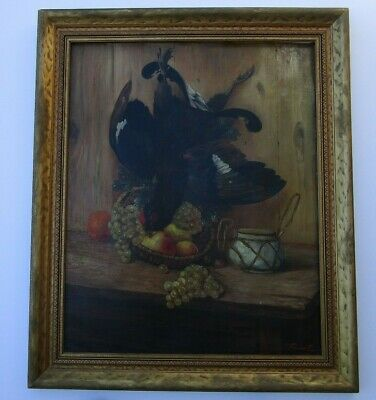 French Foucart? Antique Painting Still Life Hunting Game Bird 19Th -20Th Century