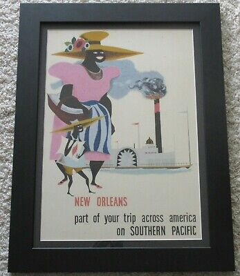 Funky Black Americana Painting New Orleans Southern Pacific Mid Century Modern