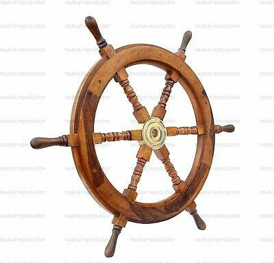 "24"" Antique Brass Wooden Ship 6 SPOKE Nautical Vintage Wall Decor Steering Wheel"