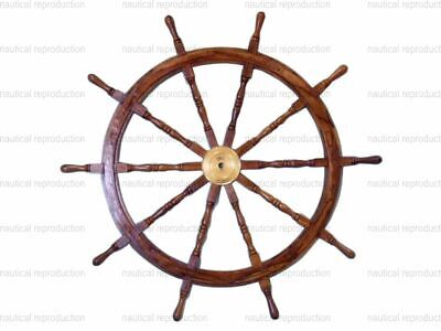 """New 36"""" Large Boat Ship Wooden Steering Wheel Brass Center Nautical Wall Decor"""