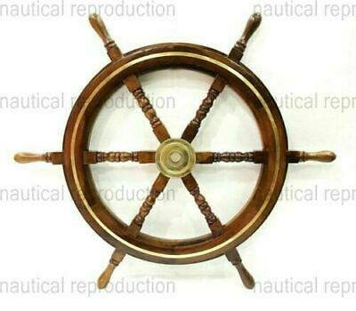 "24"" Wooden Maritime Ship Steering Wheel Vintage Nautical Wall Decor Ship Wheel"
