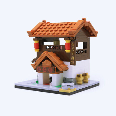 Mini Street View Chinese Ancient Restaurant Building Blocks Bricks Figures Toys