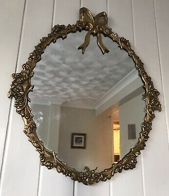 Large Vintage Antique Metal Gilt Framed Ornate Mid Century Mirror Rococo Style