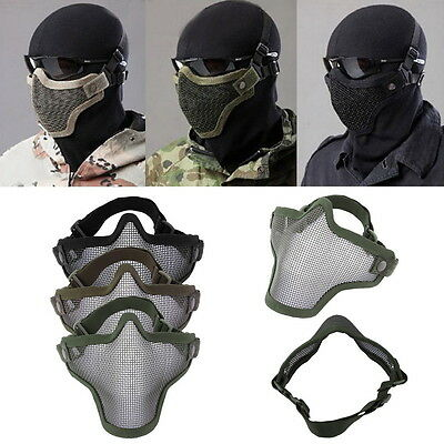 Steel Mesh Half Face Mask Guard Protect For Paintball Airsoft Game Hunting 7v