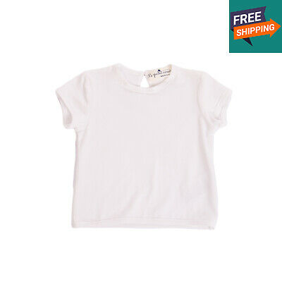 LE PETIT COCO T-Shirt Top Size 3M White Short Sleeve Crew Neck Made in Italy
