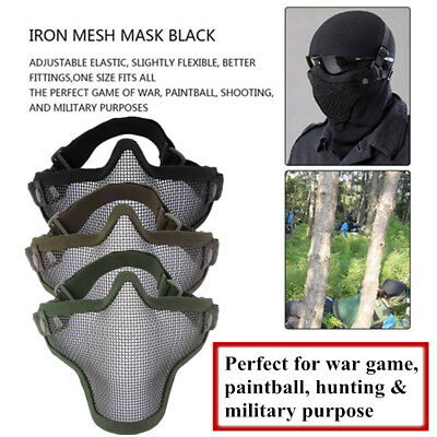 Steel Mesh Half Face Mask Guard Protect For Paintball Airsoft Game Hunting XF