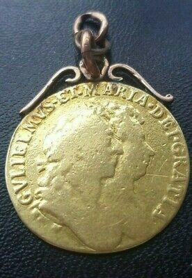 1689 William and Mary full guinea with mount see photo's