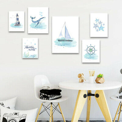 Nautical Sea Nursery Child Poster Whale Ship Canvas Wall Art Print Bedroom Decor