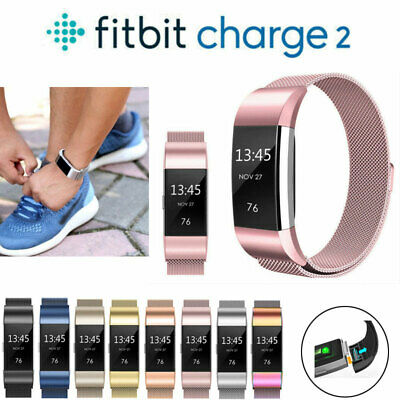 For Fitbit Charge 2 Strap Replacement Metal Milanese Band Stainless Steel Magnet