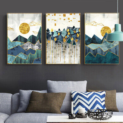 Geometric Mountain Sunset Abstract Poster Canvas Art Print Modern Home Decor