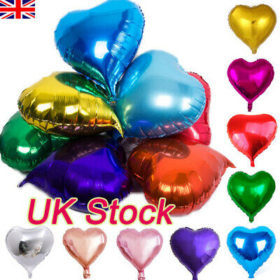 10'' Heart Shaped Foil Balloons Self Inflating Birthday Wedding Party Balloon UK