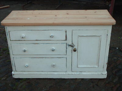Antique Victorian Painted Pine Cupboard / Chest Of Drawers