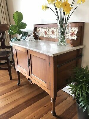 Antique Marble Topped Wooden Washstand On Castors with Tile Splash Back
