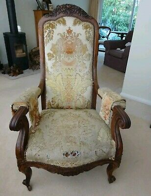 Antique French Armchair Carved and upholstered