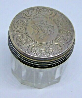 Antique Victorian Hallmarked C.B Silver Topped and Glass Pot - London 1837