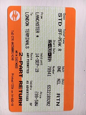 Lancaster to London. Standard class Off Peak single ticket. to 14 September