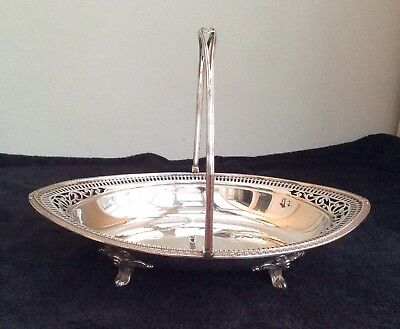 Antique Victorian Large Silver Plated Swing Handle Oval Basket Fruit Bowl