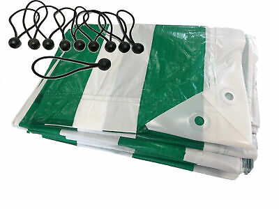 4.5m x 6m YUZET  Green White Striped Market Stall Tarpaulin and Ball Bungees