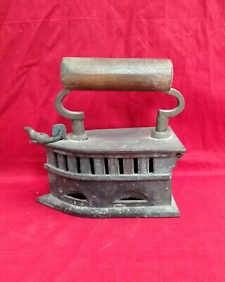 Antique Iron Press Coal Fired Iron Box Decor Vintage Wooden Handle LizardLock UK
