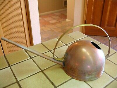 Vintage Revere Metal Ware Solid Copper & Brass Long Spout Watering Can ROME  NY