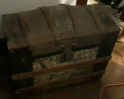 Antique Metal Wood Dome Top Camel Hump Back Chest Trunk
