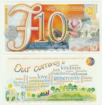 UK Tewkesbury £10 10 Pound UNC Local Currency Prototype Banknote