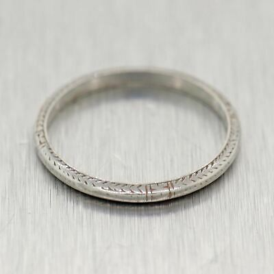 1930's Antique Art Deco Platinum Engraved Thin Wedding Band Ring