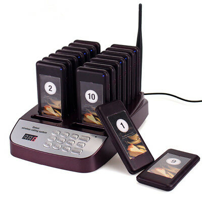 999-CH Restaurant Wireless Paging Queuing System 16 Pager Coaster US Plug