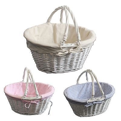 Gingham Lined Oval Willow Wicker with Folding Handle Shopping Basket
