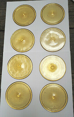 8 x New Old Stock Pale Amber 80mm Diameter Stained Glass Roundels