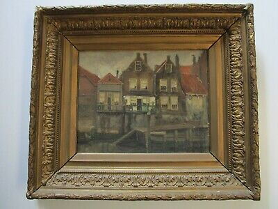 Hanau Antique 19Th Century Old Oil Painting Amsterdam Landscape Impressionist