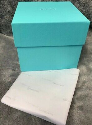 "Empty 5"" X 5"" X 4.75""T Tiffany & Co. Lidded Gift Box W/ Tissue Paper, MINT"