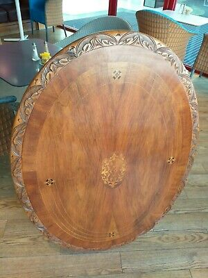 LOO card TABLE oval dining INLAID marquetry WALNUT ANTIQUE spare table top c1860