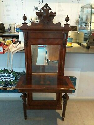 ANTIQUE continental pier glass mirror console side hall table WALNUT circa 1870