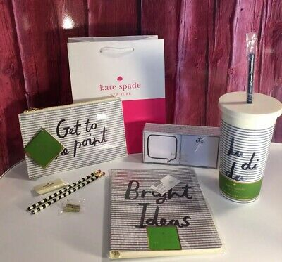 NWT Kate Spade Seersucker 4 Pc Gift! Pencil Pouch Notebook Sticky Notes Tumbler