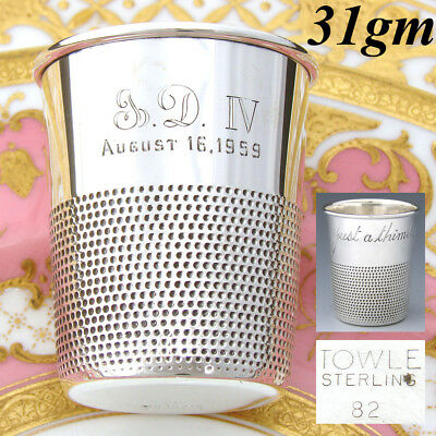 """Vintage Novelty Sterling Silver Shot Glass, Cup: A Thimble """"Just a Thimble Full"""""""