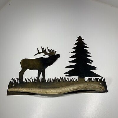 Metal Elk Tree Cut Our Horn Towel Holder Wall Hanger CABIN Hunting Camp Lodge