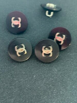 2 CHANEL  15mm Replacement Black Button Silver CC