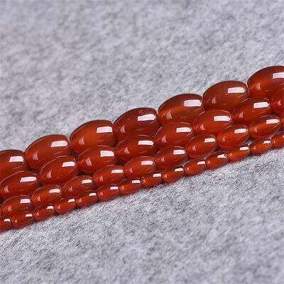 1pcs Natural Red Agate Rice Beads Loose Beads 15 inches Accessories  Charm Craft